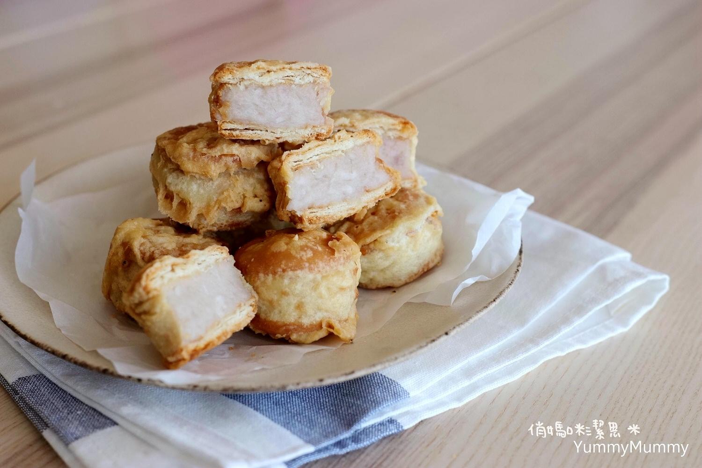 令人懷舊想念的古早味❤炸芋餅。芋頭餅❤食譜。粉漿這樣調才會酥!!!