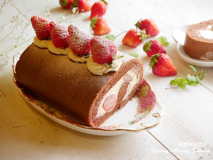 草莓季精選。手作甜點❤草莓巧克力蛋糕捲❤